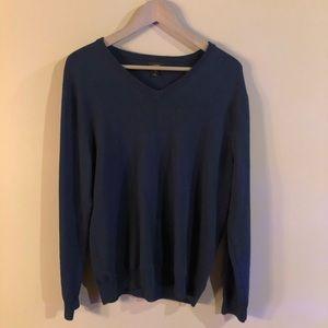 J. Crew - Blue V-Neck Sweater 100% Merino Medium